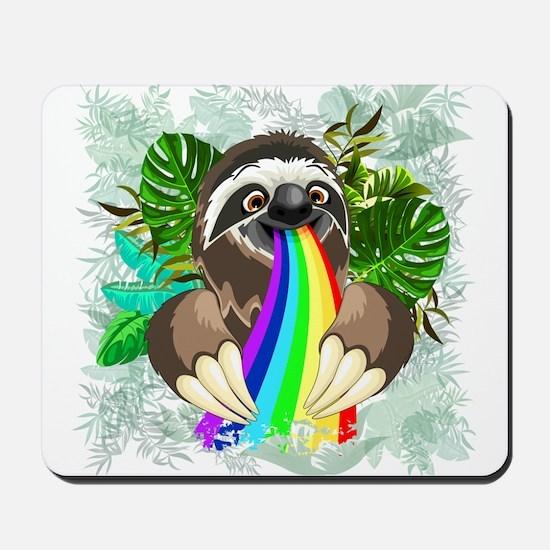 Sloth Spitting Rainbow Mousepad