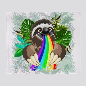 Sloth Spitting Rainbow Throw Blanket