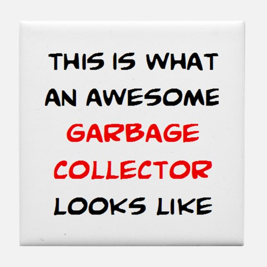 awesome garbage collector Tile Coaster