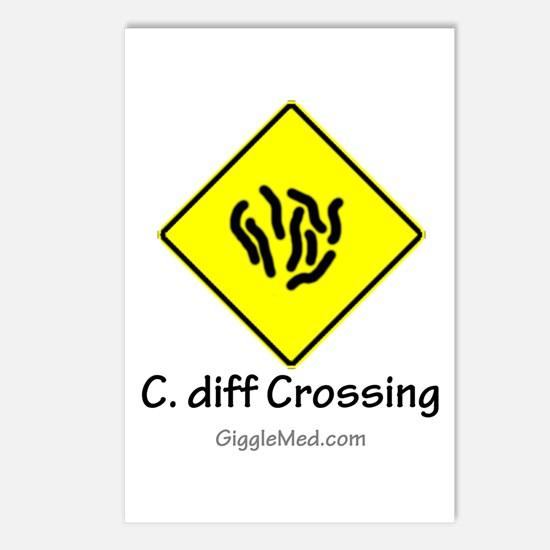 C. diff Crossing Sign 01 Postcards (Package of 8)