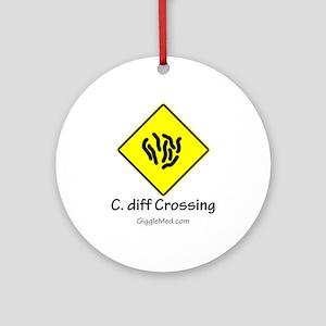 C. diff Crossing Sign 01 Ornament (Round)