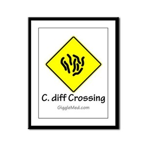 C. diff Crossing Sign 01 Framed Panel Print