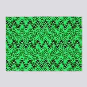 Green Wavey Squiggles Pattern 5'x7'Area Rug