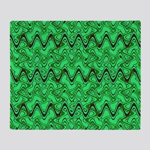 Green Wavey Squiggles Pattern Throw Blanket