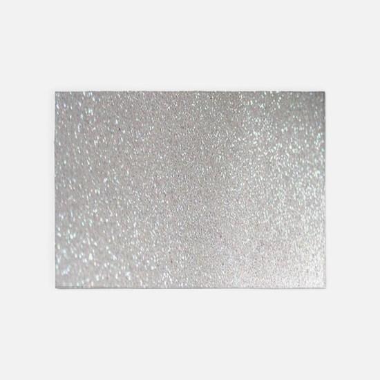metalic pearl silver glitter 5'x7'Area Rug