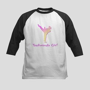 Taekwondo Girl 2 Kids Baseball Jersey