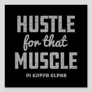 "Pi Kappa Alpha Muscle Square Car Magnet 3"" x 3"""