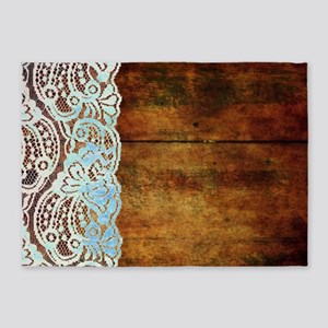 bohemian rustic wood lace 5'x7'Area Rug
