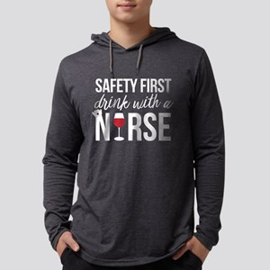Safety First Drink With A Nurse Mens Hooded Shirt