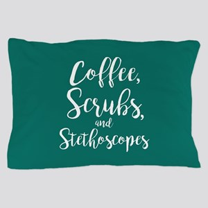 Coffee Scrubs And Stethoscopes Pillow Case