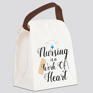 Nursing Is A Work Of Heart Canvas Lunch Bag