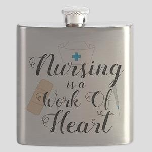 Nursing Is A Work Of Heart Flask
