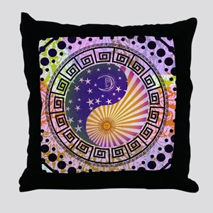 Vintage Sun Moon & Stars Yin & Yang Throw Pillow
