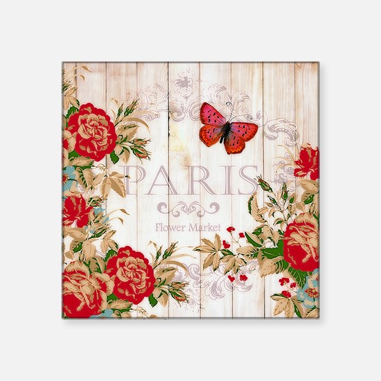 Red roses on wood Sticker