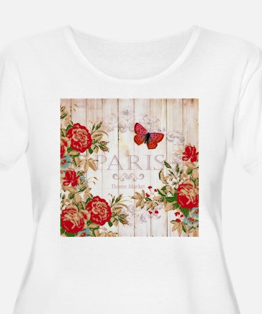 Red roses on wood Plus Size T-Shirt