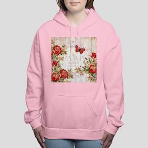 Red roses on wood Women's Hooded Sweatshirt