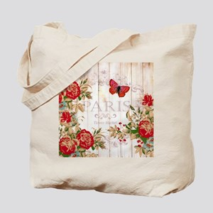Red roses on wood Tote Bag