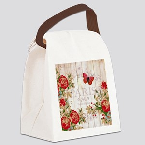 Red roses on wood Canvas Lunch Bag