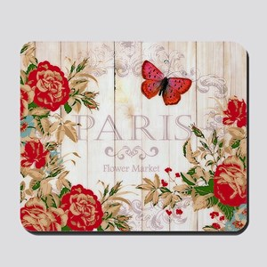 Red roses on wood Mousepad