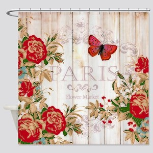 Red roses on wood Shower Curtain