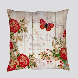 Red roses on wood Everyday Pillow