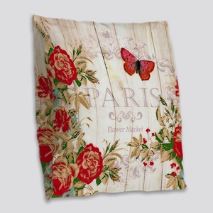 Red roses on wood Burlap Throw Pillow
