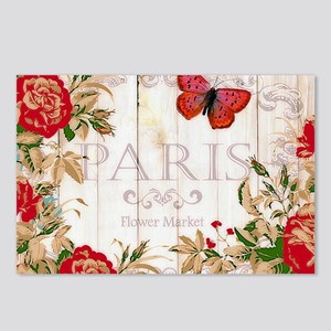 Red roses on wood Postcards (Package of 8)