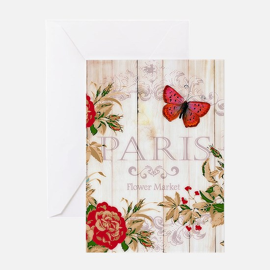 Red roses on wood Greeting Cards