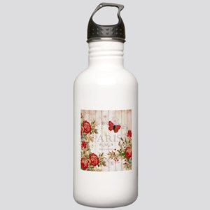 Red roses on wood Stainless Water Bottle 1.0L