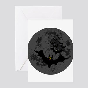 Vampire bats flying in formation ag Greeting Cards