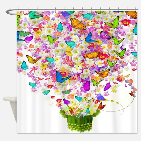 Butterflies and Flowers Forming Tree Shower Curtai