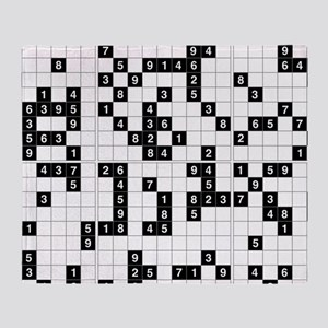 black white sudoku Throw Blanket