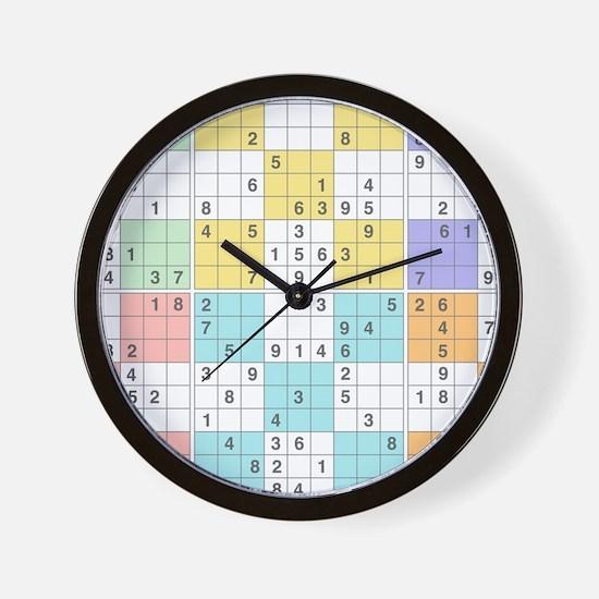 pastel sudoku Wall Clock