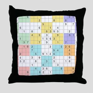 pastel sudoku Throw Pillow