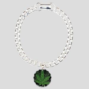 Glitter Weed Leaf Charm Bracelet, One Charm