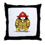 Fire Rescue Penguin Throw Pillow
