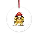 Fire Rescue Penguin Ornament (Round)