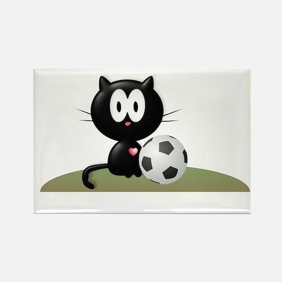 Soccer Kitty Rectangle Magnet