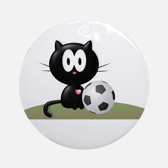 Soccer Kitty Ornament (Round)