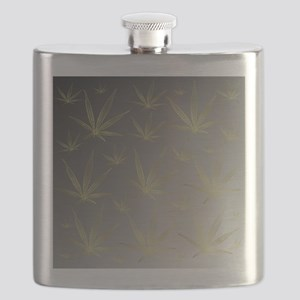 silver,cannabis leaf a delicate silhouette d Flask