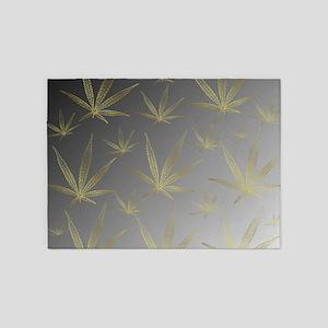 silver,cannabis leaf a delicate sil 5'x7'Area Rug