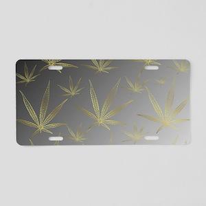 silver,cannabis leaf a deli Aluminum License Plate