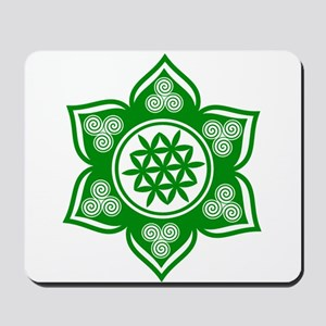 Triple Goddess Lotus Love Green Mousepad