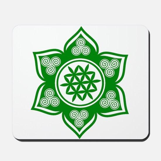 Triple Goddess Lotus Love Green Mousepad
