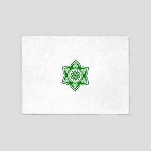Triple Goddess Lotus Love Green 5'x7'Area Rug