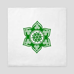 Triple Goddess Lotus Love Green Queen Duvet