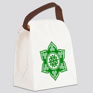 Triple Goddess Lotus Love Green Canvas Lunch Bag