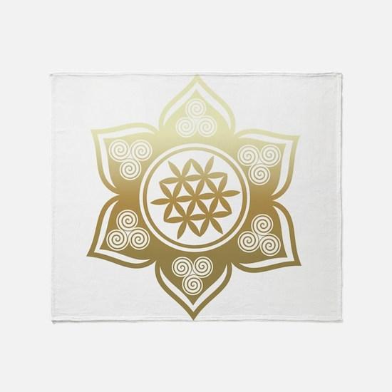 Triple Goddess Lotus Love 02 Throw Blanket