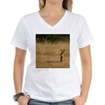 Sitting Jackrabbit Women's V-Neck T-Shirt