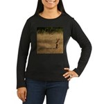 Sitting Jackrabbit Women's Long Sleeve Dark T-Shir